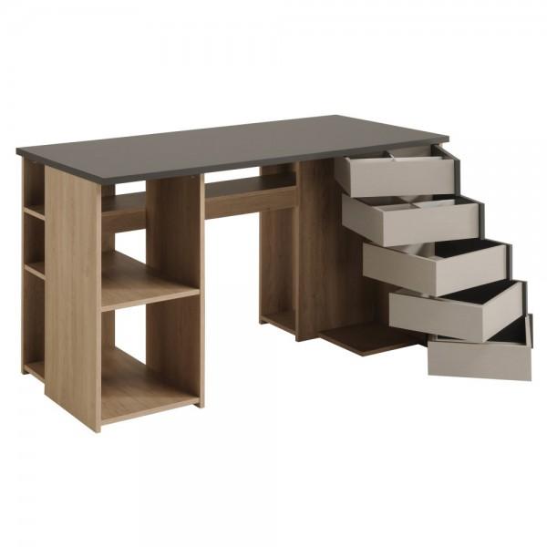 Parisot Self - Schreibtisch Breite 128 cm, mit 5 Schwenkschubkästen