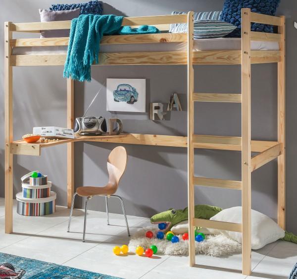 Kinder Hochbett mit Schreibtisch 90x200 cm Natur