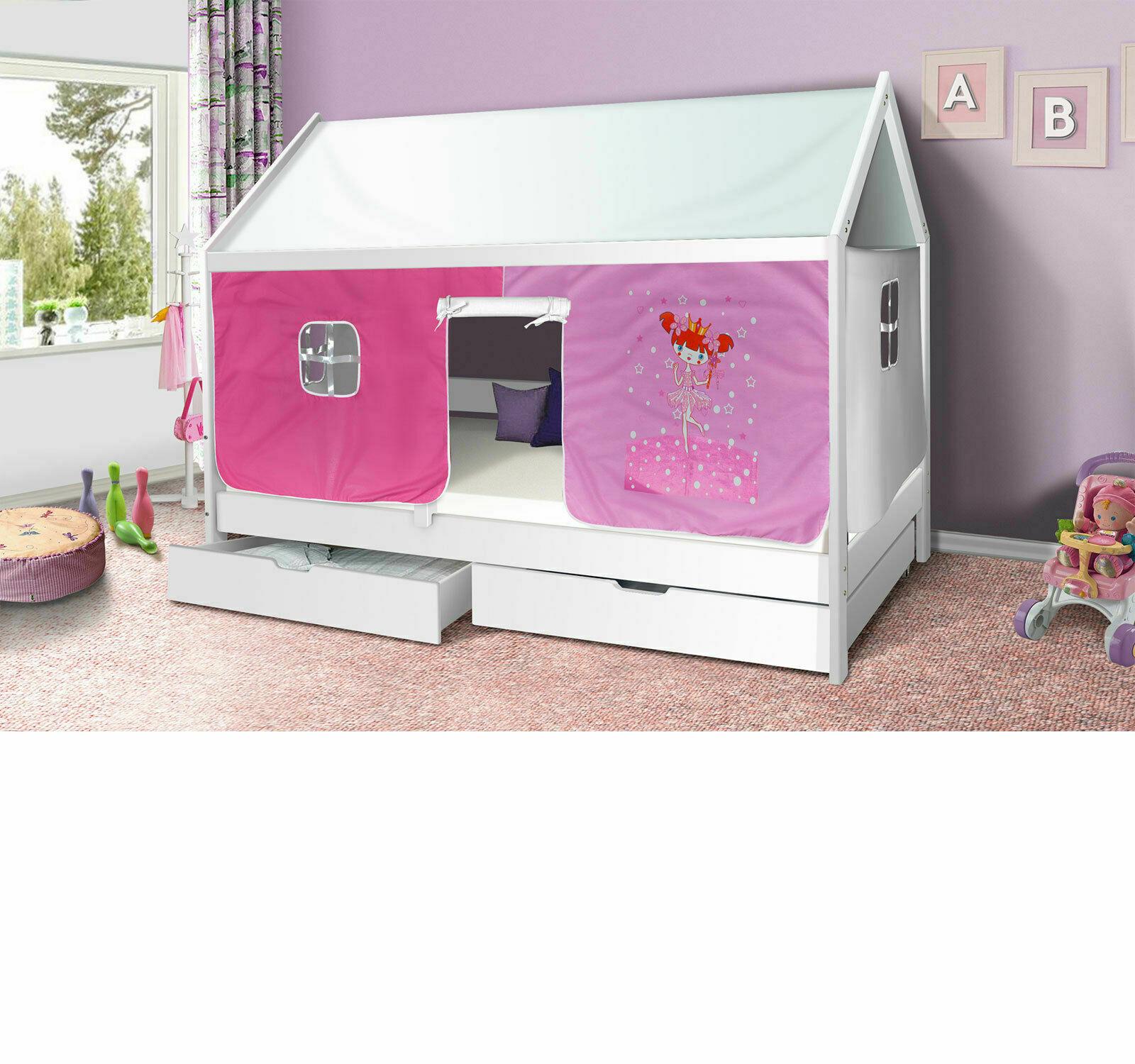 Hausbett Prinzessin Kinderbett Massiv Hochbett Spielbett Jugendbett 90x200