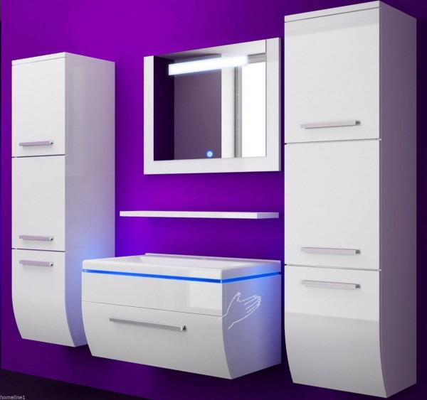 Badmöbel Set Danny 6 Teilig 90 cm Weiss mit zwei Hängeschränken