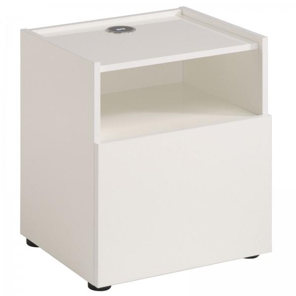 Parisot Hello - Nachtkonsole mit integrierter Ladestation 42 cm, Dekor Weiß Hochglanz