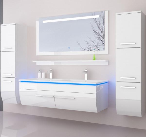 Badmöbel Doppelwaschbecken Set Danny 6 Teilig 120 cm Weiß mit zwei Hängeschränken