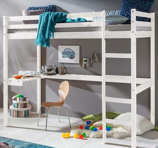 Deniz Kinder Hochbett mit Schreibtisch 90x200 cm Weiss