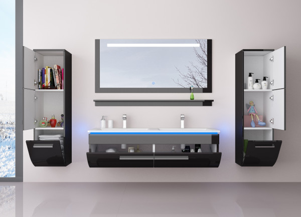 Badmöbel Doppelwaschbecken Set Danny 6 Teilig 120 cm Schwarz mit zwei Hängeschränken