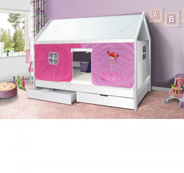 Hausbett Prinzessin Kinderbett Massiv Hochbett Spielbett Jugendbett 90x200 mit Schublade