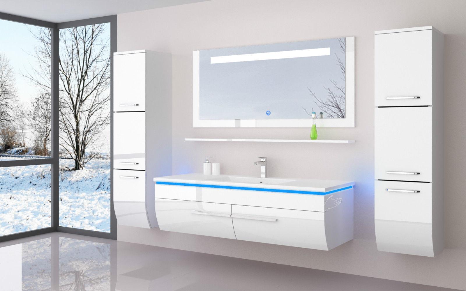 badezimmer m bel set wei hochglanz 120 cm 6teilig parim. Black Bedroom Furniture Sets. Home Design Ideas